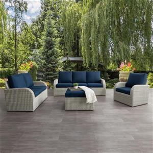 CorLiving Patio Conversation Set- Blended Grey / Navy Blue - 7pc