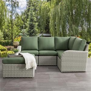 CorLiving Corner Sectional Patio Set- Blended Grey / Sage Green - 5pc