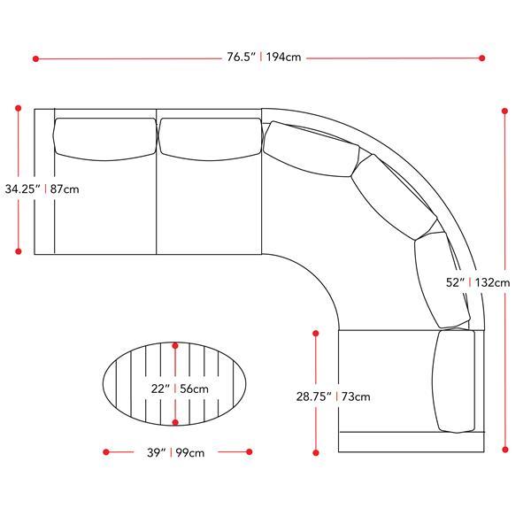Ensemble patios sectionnel incurvé, gris / vert sauge, 5 mcx