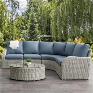 CorLiving Curved Sectional Patio Set, Blended Grey / Light Blue - 5pc