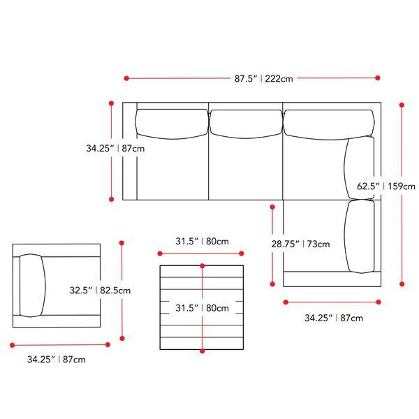 Corner Sectional Patio Set, Blended Grey / Sage Green - 6pc