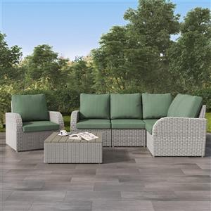 Corner Sectional Patio Set, Blended Grey / Sage Green - 6pc