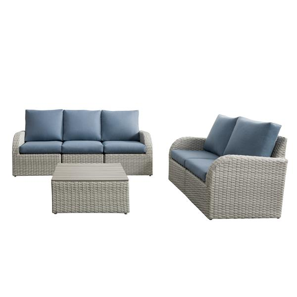 CorLiving Patio Conversation Set, Blended Grey / Light Blue - 6pc