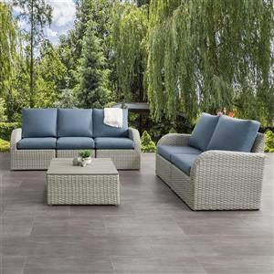 Patio Conversation Set, Blended Grey / Light Blue - 6pc