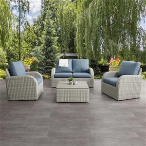 CorLiving Patio Conversation Set, Blended Grey / Light Blue - 5pc