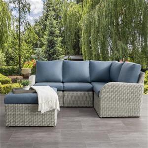 CorLiving Corner Sectional Patio Set, Blended Grey / Light Blue - 5pc