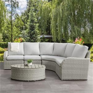 Curved Sectional Patio Set, Blended Grey / Light Grey - 5pc