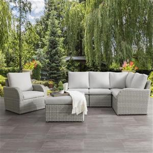 Corner Sectional Patio Set, Blended Grey / Light Grey - 6pc