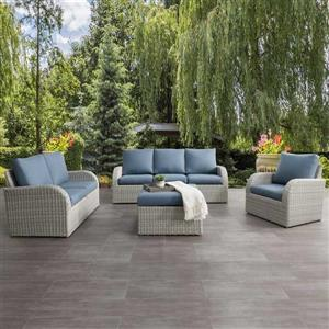 CorLiving Patio Conversation Set, Blended Grey / Light Blue - 7pc