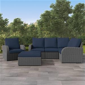 CorLiving Corner Sectional Patio Set, Charcoal Grey / Navy Blue - 6pc