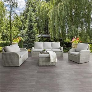 CorLiving Patio Conversation Set, Blended Grey / Light Grey - 7pc