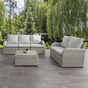 Patio Conversation Set, Blended Grey / Light Grey - 6pc