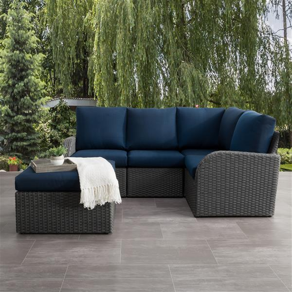 CorLiving Corner Sectional Patio Set, Charcoal Grey / Navy Blue - 5pc