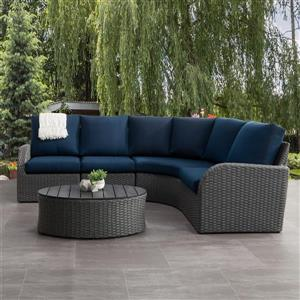 CorLiving Curved Sectional Patio Set, Charcoal Grey / Navy Blue - 5pc