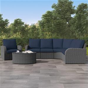 Curved Sectional Patio Set, Charcoal Grey / Navy Blue - 6pc