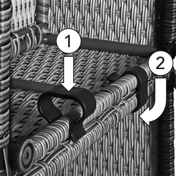 CorLiving Patio Conversation Set, Charcoal Grey / Navy Blue - 7pc