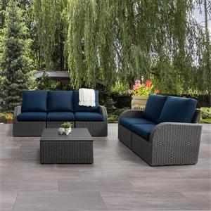 CorLiving Patio Conversation Set, Charcoal Grey / Navy Blue - 6pc