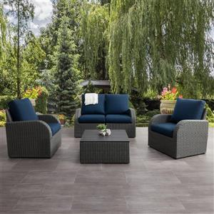 CorLiving Patio Conversation Set, Charcoal Grey / Navy Blue - 5pc