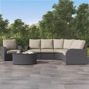 CorLiving Curved Sectional Patio Set, Charcoal Grey / Grey - 6pc