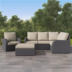 Corner Sectional Patio Set, Charcoal Grey / Grey - 6pc
