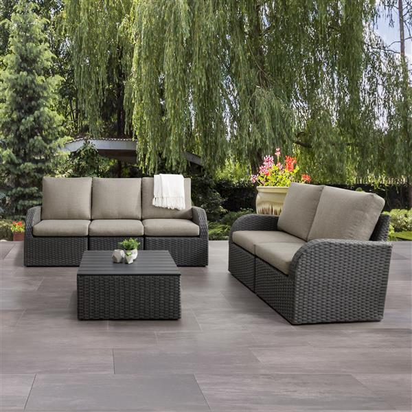 Ensemble conversation pour patios, charbon et gris, 6 mcx
