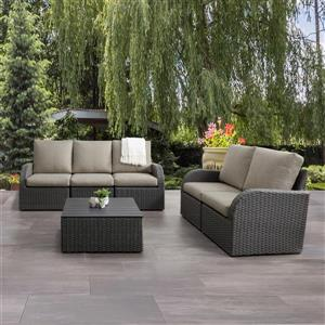 Patio Conversation Set, Charcoal Grey / Grey - 6pc