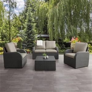Patio Conversation Set, Charcoal Grey / Grey - 5pc