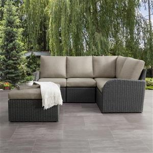 Corner Sectional Patio Set, Charcoal Grey / Grey - 5pc