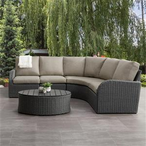 Curved Sectional Patio Set, Charcoal Grey / Grey - 5pc