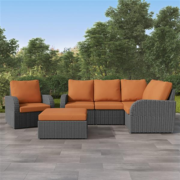 Ensemble de patios modulaire, charbon délavé / orange, 6 mcx
