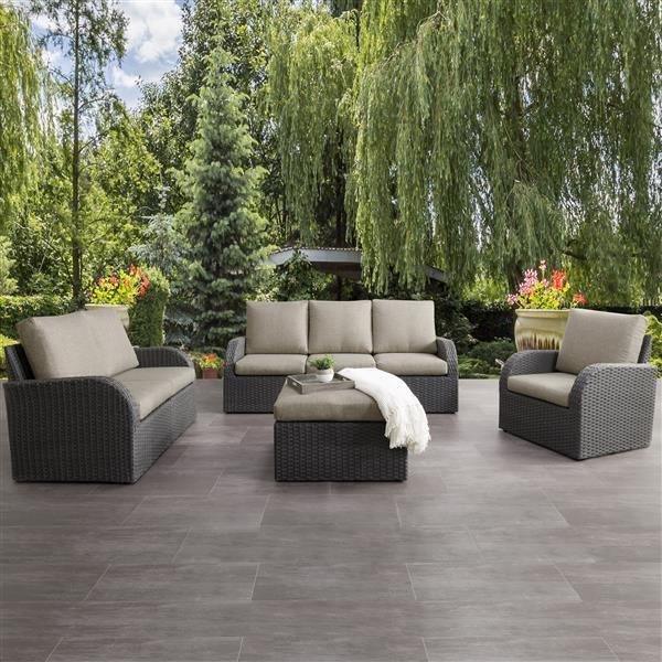 CorLiving Patio Conversation Set, Charcoal Grey / Grey - 7pc