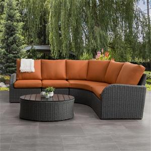 CorLiving Curved Sectional Patio Set, Charcoal Grey / Orange - 5pc