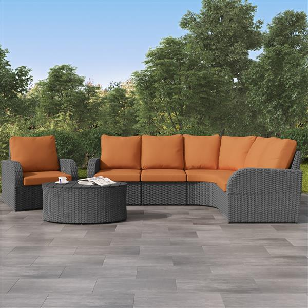 Curved Sectional Patio Set, Charcoal Grey / Orange - 6pc