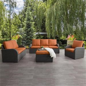 CorLiving Patio Conversation Set, Charcoal Grey / Orange - 7pc