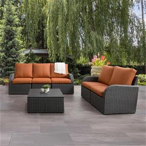 Patio Conversation Set, Charcoal Grey / Orange - 6pc