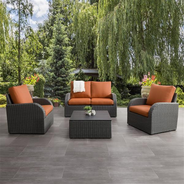 Patio Conversation Set, Charcoal Grey / Orange - 5pc