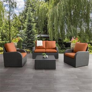 Patio Conversation Set, Charcoal Grey / Orange - 5pc