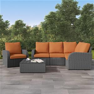 Corner Sectional Patio Set, Charcoal Grey / Orange - 6pc
