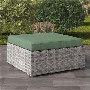 Resin Wicker Patio Ottoman - Grey / Sage Green - 32