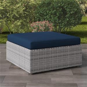 """Ottoman pour patio en osier de résine, griset bleu, 32""""x32"""""""