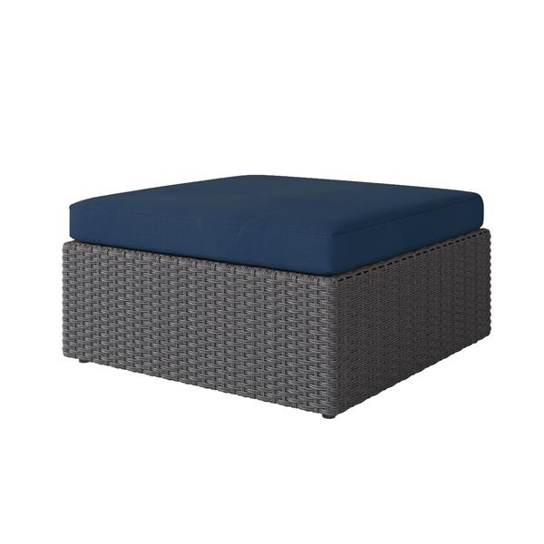 CorLiving Resin Wicker Patio Ottoman - Charcoal Grey / Navy Blue - 32""