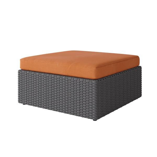 "CorLiving Wicker Patio Ottoman - Charcoal Grey / Autumn Orange - 32"""