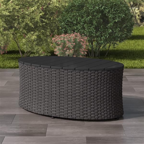 """Table basse ovale pour patio, gris charbon, 22""""x 39"""""""