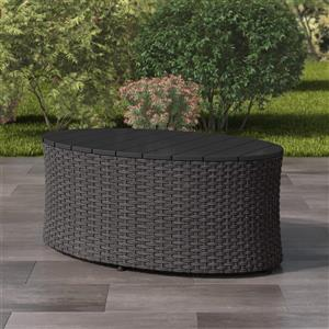 "Table basse ovale pour patio, gris charbon, 22""x 39"""