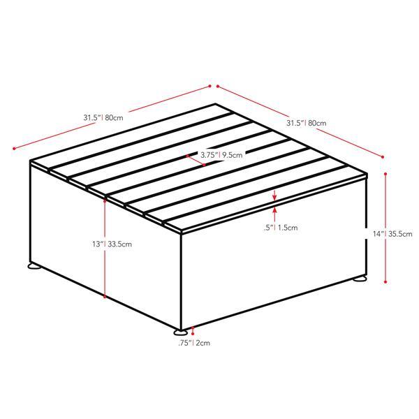 """CorLiving Square Patio Coffee Table - Charcoal - 31""""x 31"""""""