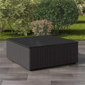 Table basse carrée pour patio, gris charbon, 31