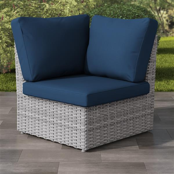 CorLiving Blended Grey Wicker Corner Patio Chair - Navy Blue - 34""