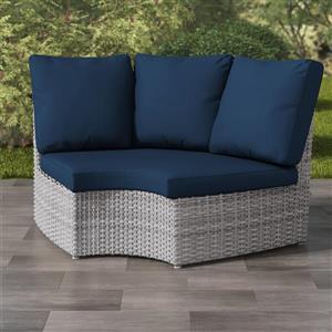 "Fauteuil de coin pour patio en osier, gris/bleu, 71"""