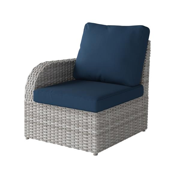 CorLiving Blended Grey Wicker Left Arm Patio Chair - Navy Blue - 29""