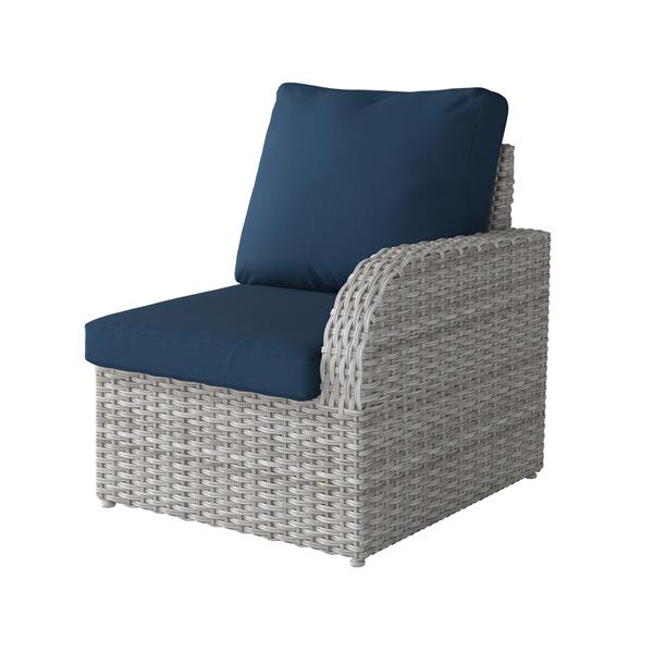 CorLiving Blended Grey Resin Wicker Right Arm Patio Chair - Navy - 29""